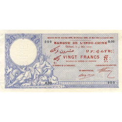 Djibouti - Pick 2 spécimen - 20 francs - 04/05/1910 - Etat : SUP+