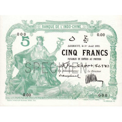 Djibouti - Pick 4A specimen - 5 francs - 01/08/1923 - Etat : pr.NEUF