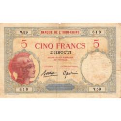 Djibouti - Pick 6b-2 - 5 francs - 1927 - Etat : TB
