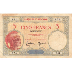 Djibouti - Pick 6b-2 - 5 francs - 1927 - Etat : TB+
