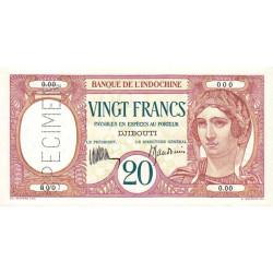 Djibouti - Pick 7a spécimen - 20 francs - 1936 - Etat : pr.NEUF