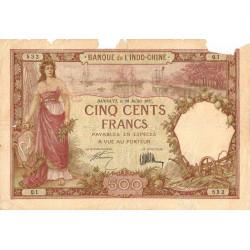 Djibouti - Pick 9a - 500 francs - 20/07/1927 - Etat : B-
