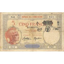 Djibouti - Pick 11 - 5 francs - 01/01/1943 - Etat : TB-