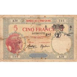 Djibouti - Pick 11 - 5 francs - 01/01/1943 - Etat : B-