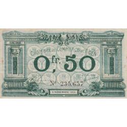 Agen - Pirot 2-1b - 50 centimes - 05/11/1914 - Etat : TTB+