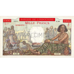 Djibouti - Pick 10A spécimen - 1'000 francs - 1938 - Etat : pr.NEUF