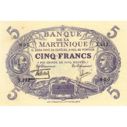 Martinique - Pick 6-2 - 5 francs - 1934 - Etat : SUP