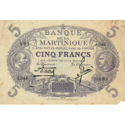 Martinique - Pick 6-2 - 5 francs - 1934 - Etat : TB