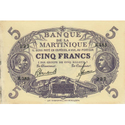 Martinique - Pick 6-3 - 5 francs - 1945 - Etat : SUP