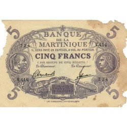 Martinique - Pick 6-3 - 5 francs - 1945 - Etat : AB