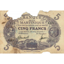 Martinique - Pick 6-3 - 5 francs - 1945 - Etat : AB-