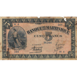Martinique - Pick 16-1 - 5 francs - 1942 - Etat : B