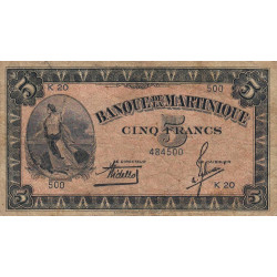 Martinique - Pick 16-1 - 5 francs - 1942 - Etat : TB-