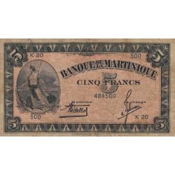 Martinique - Pick 16-1 - 5 francs - 1942 - Etat : TB-