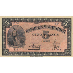 Martinique - Pick 16-1 - 5 francs - 1942 - Etat : SPL