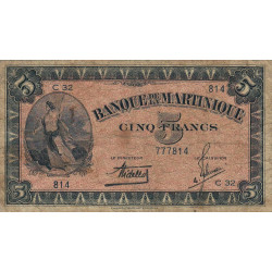 Martinique - Pick 16-1 - 5 francs - 1942 - Etat : B+