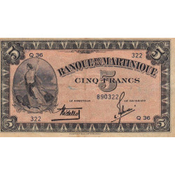 Martinique - Pick 16-1 - 5 francs - 1942 - Etat : TB+