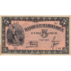 Martinique - Pick 16-1 - 5 francs - 1942 - Etat : TTB