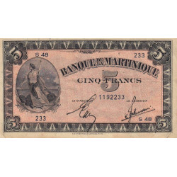 Martinique - Pick 16-2a - 5 francs - 1944 - Etat : TTB