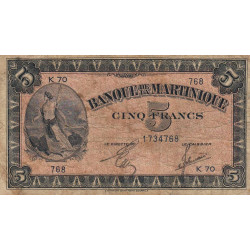 Martinique - Pick 16-2b - 5 francs - 1944 - Etat : TB-