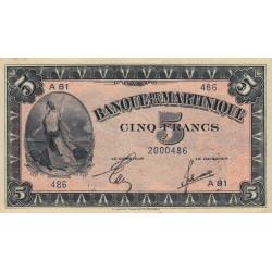Martinique - Pick 16-2b - 5 francs - 1944 - Etat : SUP