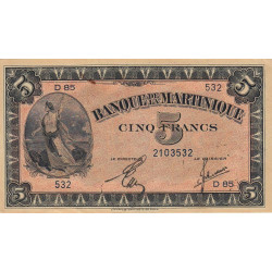 Martinique - Pick 16-2b - 5 francs - 1944 - Etat : SUP+