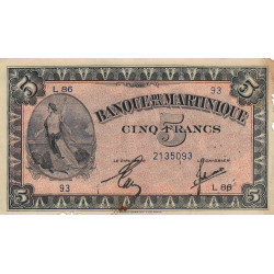 Martinique - Pick 16-2b - 5 francs - 1944 - Etat : TTB-