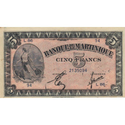 Martinique - Pick 16-2b - 5 francs - 1944 - Etat : SUP