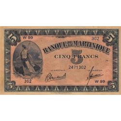 Martinique - Pick 16-3 - 5 francs - 1945 - Etat : SPL