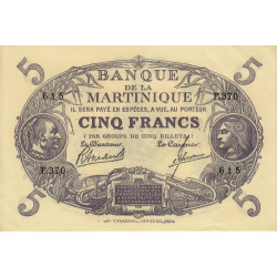 Martinique - Pick 6-3 - 5 francs - 1945 - Etat : SUP+
