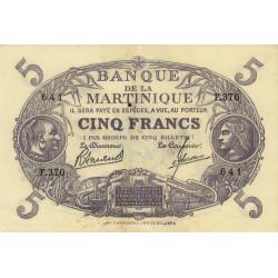 Martinique - Pick 6-3 - 5 francs - 1945 - Etat : SUP