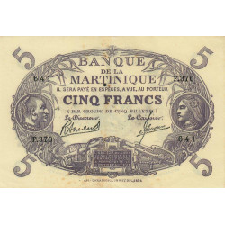 Martinique - Pick 6-3 - 5 francs - 1945 - Etat : TTB+