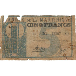 Martinique - Pick 16A - 5 francs - 1941 - Etat : B-