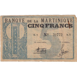 Martinique - Pick 16A - 5 francs - 1941 - Etat : TB+