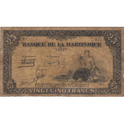Martinique - Pick 17-1 - 25 francs - 1943 - Etat : B