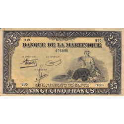 Martinique - Pick 17-1 - 25 francs - 1943 - Etat : TTB+