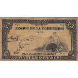 Martinique - Pick 17-1 - 25 francs - 1943 - Etat : TB