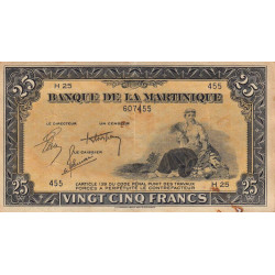 Martinique - Pick 17-2 - 25 francs - 1944 - Etat : TTB