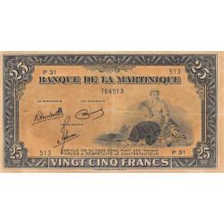 Martinique - Pick 17-3 - 25 francs - 1945 - Etat : SUP