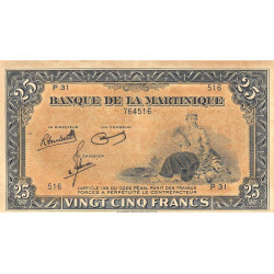 Martinique - Pick 17-3 - 25 francs - Etat : SPL
