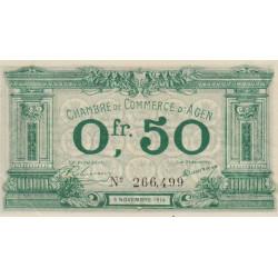 Agen - Pirot 2-1b - 50 centimes - 05/11/1914 - Etat : SPL
