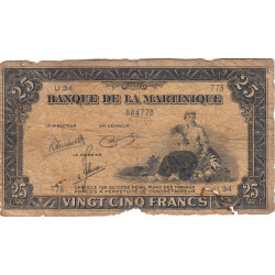 Martinique - Pick 17-3 - 25 francs - 1945 - Etat : AB