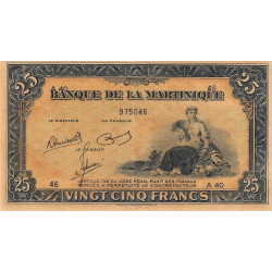 Martinique - Pick 17-3 - 25 francs - 1945 - Etat : SPL