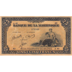 Martinique - Pick 17-3 - 25 francs - 1945 - Etat : SUP+