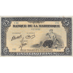 Martinique - Pick 17-3 - 25 francs - 1945 - Etat : TTB