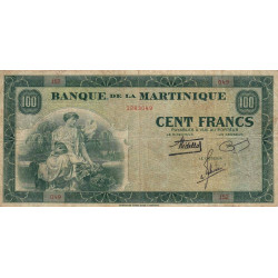 Martinique - Pick 19-1 - 100 francs - 1943 - Etat : TB+