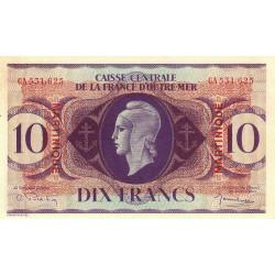 Martinique - Pick 23 - 10 francs - France Outre-Mer - 1944 - Etat : SUP+