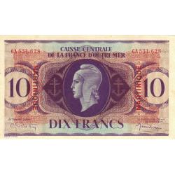 Martinique - Pick 23 - 10 francs - France Outre-Mer - 1944 - Etat : TTB+