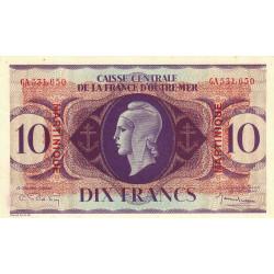 Martinique - Pick 23 - 10 francs - France Outre-Mer - 1944 - Etat : SPL