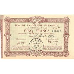 03 - Vichy - Bon de la Défense Nationale - 1916 - 5 francs - Série C - Etat : SPL